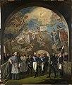 Lemasle, Louis Nicolas — Le Roi Charles X visite les peintures de Gros à la coupole de l'église Sainte-Geneviève, le 24 novembre 1824 — 1825 - 1827.JPG