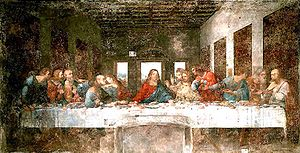 Venus and Amor - Last Supper, Leonardo da Vinci, 1498. The right hand and tilted head of Venus echoes those of Jesus in da Vinci's work