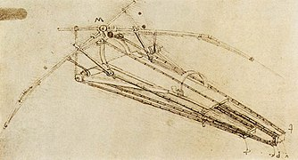 Leonardo da vinci, Drawing of a flying machine.jpg