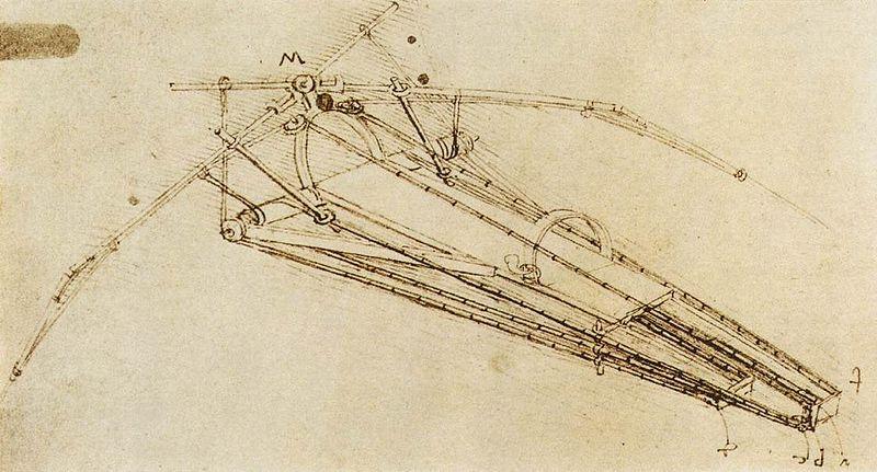 Le dessin d'un machine a voler, par Léonard de Vinci