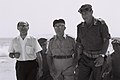 Levi Eshkol accompanied by Menahem Begin and Yeshayahu Gavish visiting troops in Sinai. June 1967. D705-050.jpg
