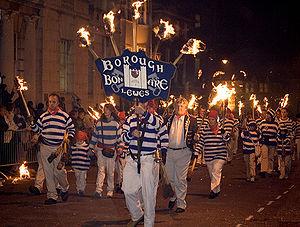 Sussex Bonfire Societies - Members of the Lewes Borough Bonfire Society on Bonfire Night in Lewes, Sussex.