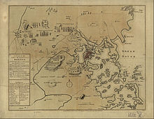 Carte de 1775 montrant la région de Boston.
