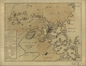 Siege of Boston - 1775 map of the Battles of Lexington and Concord and the Siege of Boston