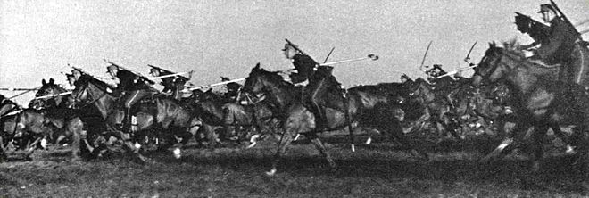 Lithuanian lancers training in the 1930s Lietuvos kavalerija.Lithuanian cavalry.jpg