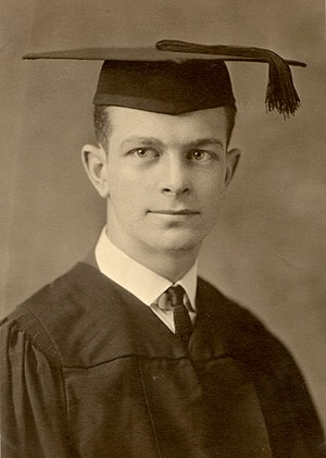 Graduation portrait of Linus Pauling wearing a...