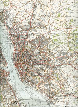 Jim and Mary McCartney - A map of Liverpool in 1947, showing the emergence of new housing estates where the McCartney family lived (bottom right).