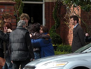 The End of Time (Doctor Who) - Julie Gardner hugging Elisabeth Sladen, with David Tennant, recorded on location