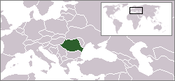 Map of Europe with Romania in green.