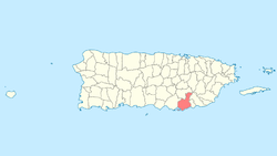 Guayama shown within Puerto Rico