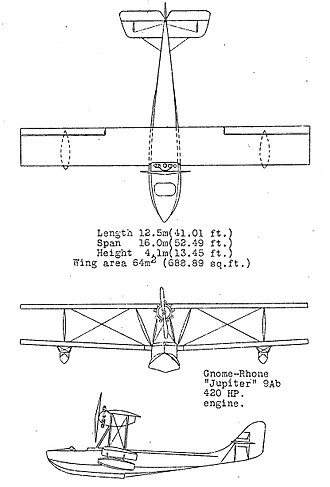 Lioré et Olivier LeO H-190 - Loire et Olivier H-194 3-view drawing from NACA Aircraft Circular No.39