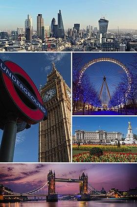 Topo: Panorama da Cidade de Londres, com Canary Wharf ao fundo, Meio à esquerda: Big Ben e placa do metrô, Meio à direita: London Eye e Palácio de Buckingham, Abaixo: panorama da Tower Bridge sobre o rio Tâmisa.