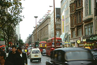 Oxford Street - A view of Oxford Street in 1987, with Selfridges on the right