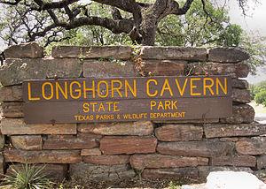 Longhorn Cavern State Park - Image: Longhorn Cavern sign IMG 2005