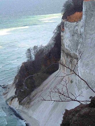 Møn - The beach and steps descending from the 100 m cliffs of Møns Klint