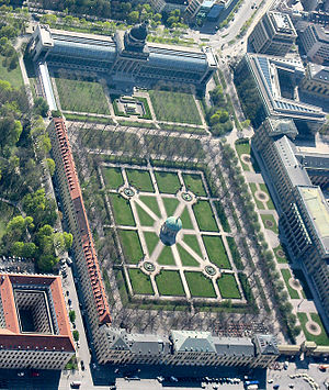 Hofgarten (Munich) - Aerial view, Bavarian Staatskanzlei at top, Munich Residenz on right, Temple of Diana at center