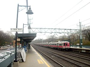 Pelham (Metro-North station) - An M2 departs Pelham Station on a cloudy April afternoon.