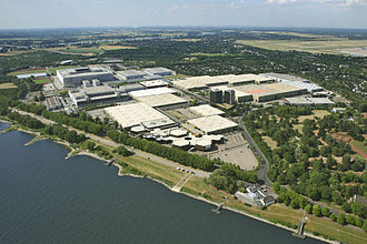 Esprit Arena - Aerial view of Messe Düsseldorf in District 5, showing the Esprit Arena (then named LTU Arena) on the far left