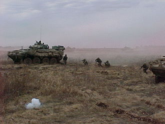 LAV III - Canadian infantry dismounting from a LAV III at CFB Gagetown