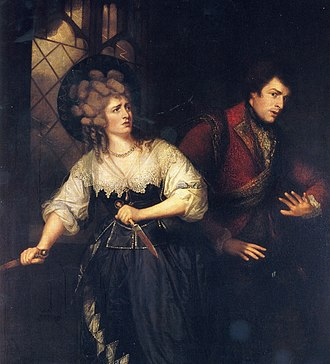 "John Philip Kemble - John Philip Kemble and Sarah Siddons, in ""Macbeth"", painted by Thomas Beach in 1786, now housed at the Garrick Club in London."