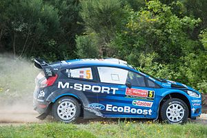 Ford Fiesta RS WRC - Mads Østberg driving his Ford Fiesta RS WRC at the 2016 Rally de Portugal.