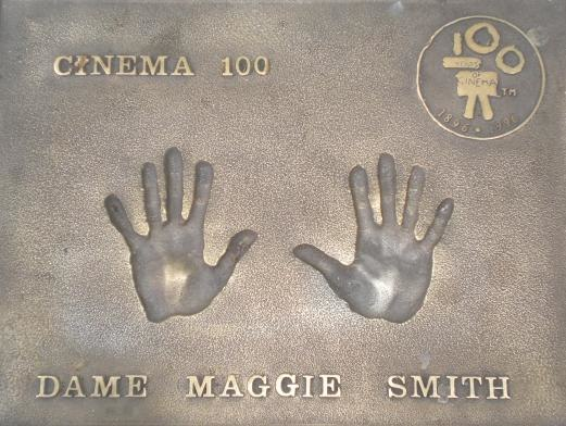 Maggie Smith handprints in Leicester Square