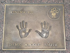 English: Maggie Smith handprints in Leicester ...