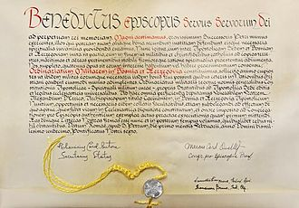 Bulla (seal) - A modern bulla attached by yellow cord to the Apostolic constitution Magni aestimamus issued by Pope Benedict XVI in 2011.