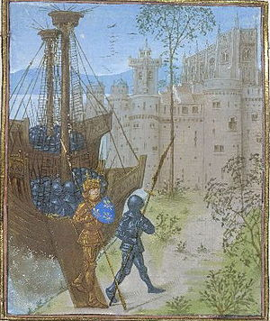 Barbary Crusade - The French army disembarking in Africa, led by the duke of Bourbon, holding a shield bearing the royal arms of France