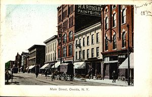 Oneida, New York - Oneida Main Street in a 1907 postcard