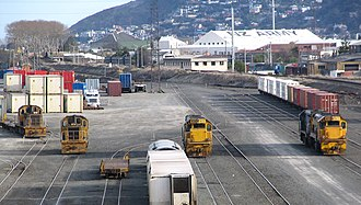 South Island Main Trunk Railway - Shunting yard in Dunedin on the Main South Line portion of the SIMT.  Locomotives visible are of the DC, DFT, and DSG classes.