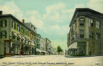 Amesbury, Massachusetts - Main Street from Market Square in 1911