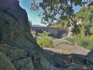 Malibou Lake, California - Malibou Dam in 2011, as seen from Malibu Creek State Park