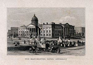 Manchester Royal Infirmary - Manchester Royal Infirmary (a 19th century engraving)