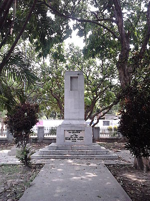Mangal Pandey - The Mangal Pandey cenotaph on Surendranath Banerjee road at Barrackpore Cantonment, West Bengal.