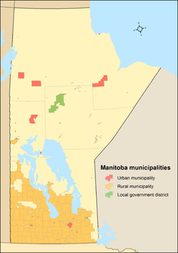 Map showing locations of all of Manitoba's municipalities after the 2015 municipal amalgamations