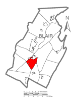 Map of Blair County, Pennsylvania highlighting Blair Township