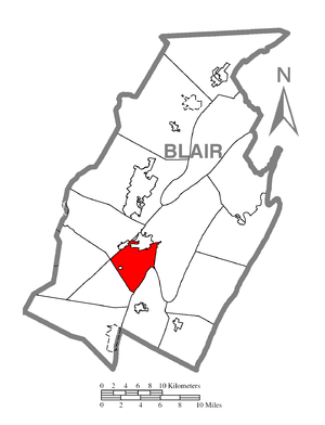 Blair Township, Blair County, Pennsylvania - Image: Map of Blair Township, Blair County, Pennsylvania Highlighted