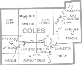 Coles County, Illinois - Township and municipality map of Coles County.