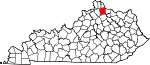 State map highlighting Pendleton County
