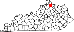 map of Kentucky highlighting Pendleton County