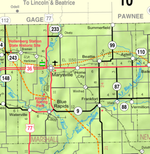 Marysville, Kansas - Image: Map of Marshall Co, Ks, USA