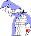 State map highlighting Oakland County
