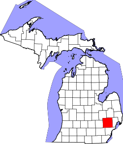 Map of Michigan highlighting Oakland County.svg