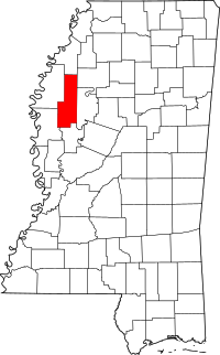 Locatie van Sunflower County in Mississippi