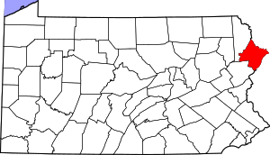 Map of Pennsylvania highlighting Pike County