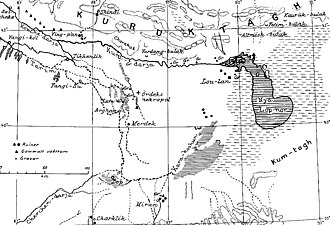 Lop Nur - Map of Lop Nur by Folke Bergman, 1935. Kara-Koshun where the terminal lake was found in 1867 is located to the south-west of Lop Nor, and the lake had shifted back to Lop Nor by the time this map was drawn. Taitema Lake was a smaller transit lake and located to the west of Kara-Koshun.