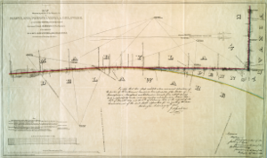 Wedge (border) - An 1850 survey conducted by Lt. Col. J.D. Graham of the U.S. Army Corps of Topographical Engineers showing the wedge and features surrounding the boundary line.