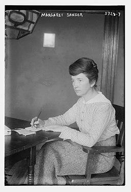 Margaret Higgins Sanger (September 14, 1879 – September 6, 1966) in 1916 facing left with pen in hand