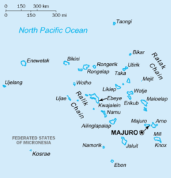 Map of the Marshall Islands show Bikini